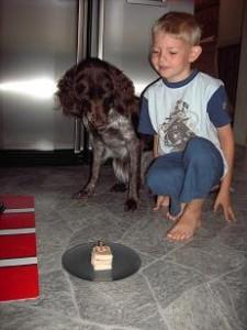 Hugo har gjort en tårta till Lea