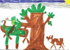 Hugo har ritat Stefan och Lea på älgjakt